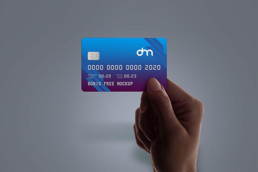 Hand Holding Credit Card Mockup
