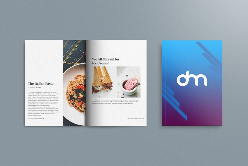 Open Magazine and Cover Mockup Template