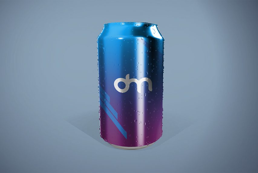 Soda Can with Water Drops Mockup
