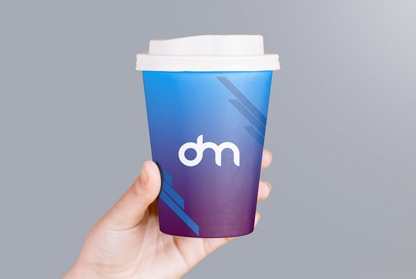 Holding Paper Coffee Cup Branding Mockup