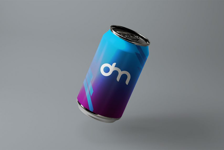 Floating Soda Can Branding Mockup