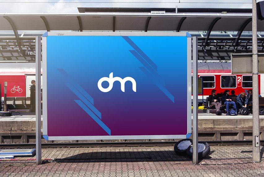 Train Station Advertising Billboard Mockup